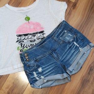 1st Kiss distressed denim jean shorts